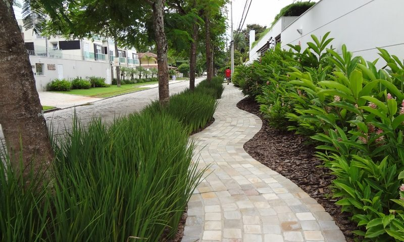 Landscaped paver path with grass and trees